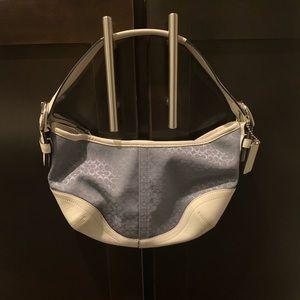 Coach Blue and White Mini Hobo Handbag